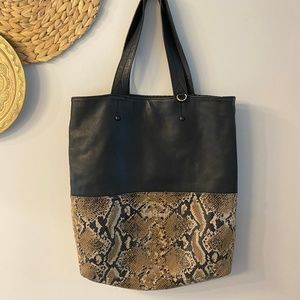 Python Snake Embossed Print Brown Tote Bag Purse